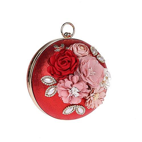 Banquet Wedding Bags Eleoption Party Prom Metal Floral Chain for Flower Evening Wedding Fashion Red Clutch Handbag 2017 Purses Bag with Clutch Spherical x7qYFTwr7