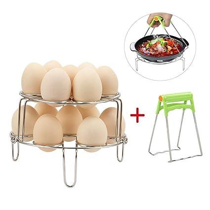 Dricar 2 Egg Steam Rack - Rejilla de Vapor Huevo Acero inoxidable de Verduras Vapor Rack