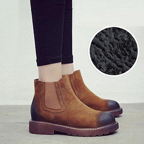CAMELVELVET invierno para planas altas zapatos botas de 36 Martin mujer estilo retro de británico Botas HwOqwEY