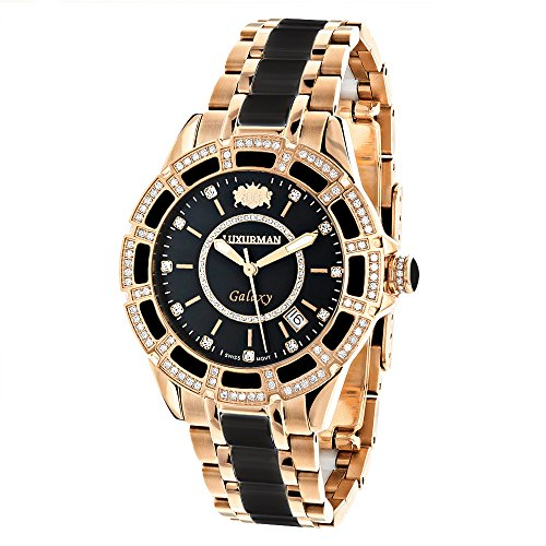 - Real Diamond Stainless Steel and Black Ceramic Watch Rose Gold Plated LUXURMAN Galaxy Swiss Quartz Watch