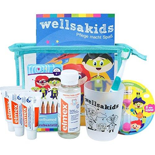 wellsamed wellsakids Zahnpflege Reiseset Kinder Mundpflege-Set Zahnpflege-Set Travel Set