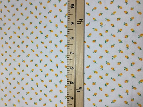 Yellow Rose Buds Floral - Cotton Flannel Fabric Fabric ()
