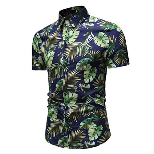 JJLIKER Men's Slim Fit Short Sleeve Polo Shirt Floral Printed Casual Hawaiian Aloha Casual Vintage Button Down Tee Green -
