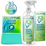 Calyptus TV Screen Cleaner Kit | Safe for Cleaning Television, Digital Screen, Smart Phone, Laptop, Tablet | Alcohol Ammonia VOC Free | 100% Natural, Plant Based, Non-Toxic | 24 Oz + Microfiber Cloth