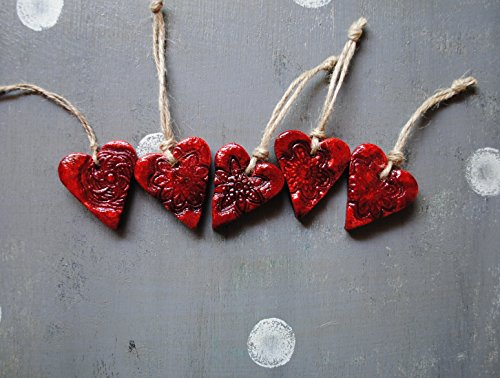 Set of 5 RED heart ornaments 11217-1