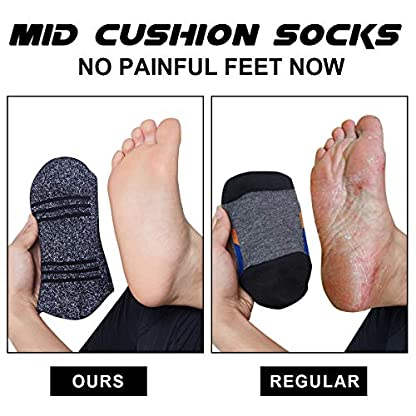 5 Pairs Mens Socks For Hiking Trekking Walking,Breathable Cushion Comfortable Casual Crew Socks 4