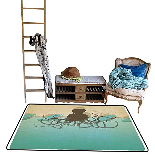 (Non-Slip Floor mat,Vintage Style Marine Background and Octopus with Tentacles in Waves Ocean Wildlife 4'x6',Can be Used for Floor Decoration)