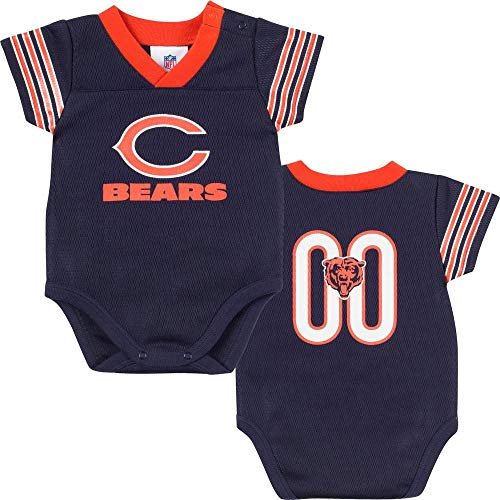 NFL Chicago Bears Unisex-Baby Dazzle Mesh V-Neck Bodysuit, Navy/Orange, 0-3 - Chicago Bears Baby Clothes