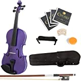 Mendini 3/4 MV-Purple Solid Wood Violin with Hard Case, Shoulder Rest, Bow, Rosin and Extra Strings