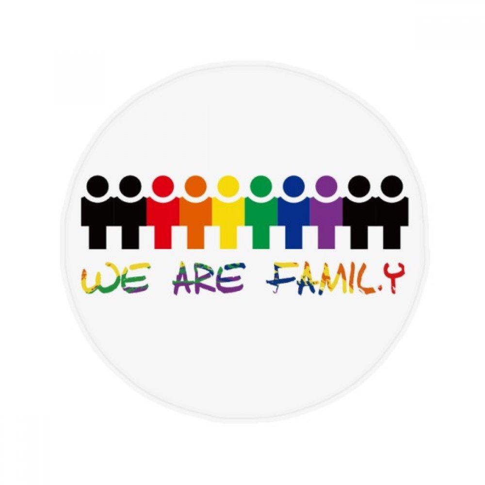 60X60cm DIYthinker LGBT Rainbow Flag We are Family Anti-Slip Floor Pet Mat Round Bathroom Living Room Kitchen Door 60 50Cm Gift