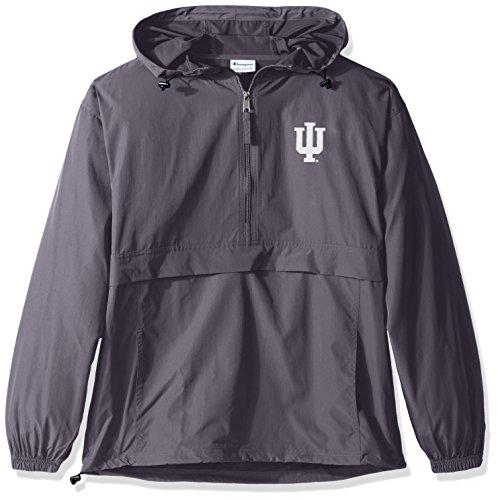 (Champion NCAA Men's Half Zip Front Pocket Packable Jacket Indiana Hoosiers)