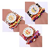 Navion Emoji Vintage Woven Strap Bracelet Watch with Gold Tone Plate Wholesales 3 Pcs