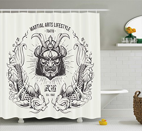 Ambesonne Asian Shower Curtain, Traditional Japanese Samurai Mask Koi Fish Martial Arts Lifestyle Tokyo Typography, Fabric Bathroom Decor Set with Hooks, 70 Inches, Coconut Grey ()