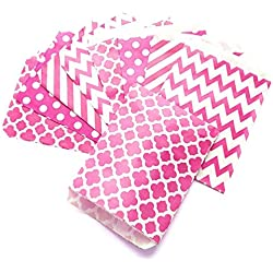 KIYOOMY 100 Pcs Candy Buffet Bags Small Paper Treat Bags (Hot Pink, 5 inch X 7 inch)