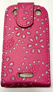 funda del caso del tirón Rightway Shop Nuevo brillante gema del diamante de Bling para Blackberry-rosa