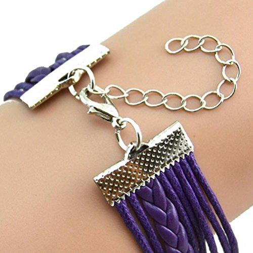 RIUDA Fashion Women Lovely Infinity Owl Pearl Friendship Multilayer Charm Leather Bracelets Gift (Purple )