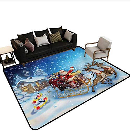 Home Custom Floor mat,Santa in Sleigh with Reindeer and Toys in Snowy North Pole Tale Fantasy Image 6