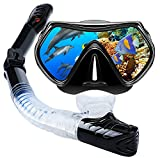 VillSure Snorkel Set Adult-Dry Top Snorkeling Gear-Impact Resistant Anti Fog Tempered Glass Panoramic Scuba Mask,Easy Breathing Underwater for Snorkeling, Swimming, Diving