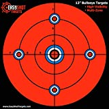 """50-Pack - Large 13"""" Maximum Visibility Bullseye Sighting Targets For Shooting - Fluorescent Orange, Bright and Colorful - Easy To See Your Shots - Best Quality Guarantee."""