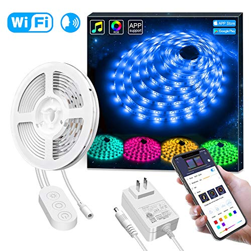 Smart LED Strip Lights Works with Alexa, Govee APP Control Waterproof 16.4ft RGB LED Light Strip WiFi Sync with Music, 16 Million Colors 5050 LED Lights for Home, Kitchen, TV, Party (App To Change Color Of Kitchen Cabinets)