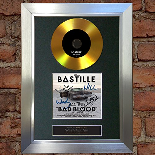 #84 Gold CD Bastille Bad Blood Signed Autograph CD & Cover Reproduction Print A4 Rare Perfect Birthday (297 x 210mm) (Silver Frame)