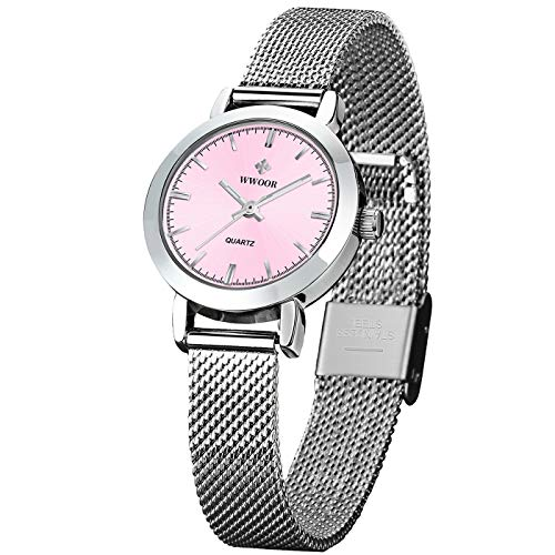 WWOOR Women's Watch Fashion Analog Quartz Watches with Stainless Steel Mesh Band Waterproof Wristwatch Casual Gift Watch Ladies (Pink)