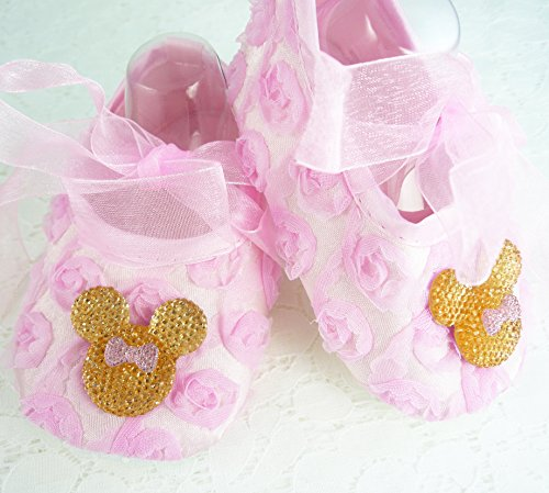 Minnie Mouse Smash Cake (Baby Girl's Pink Rosette Soft Shoes, Minnie Mouse Inspired Crib Footwear, 1st Birthday, Cake Smash, Photo Prop, Kids Fashions, Size 6-18 mos, Made in the)
