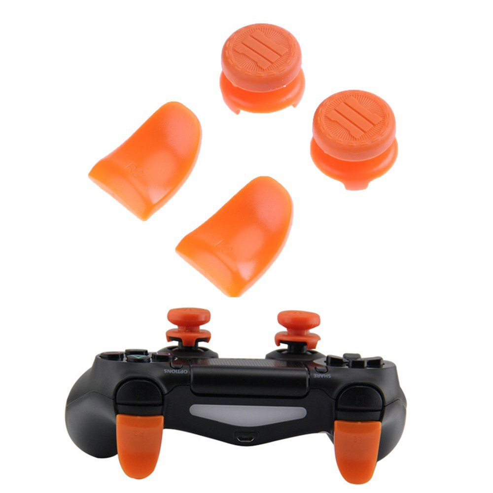 Beracah Thumb Stick Caps Grips L2 R2 Buttons Trigger Extenders for PS4 Controller Blue (Orange)