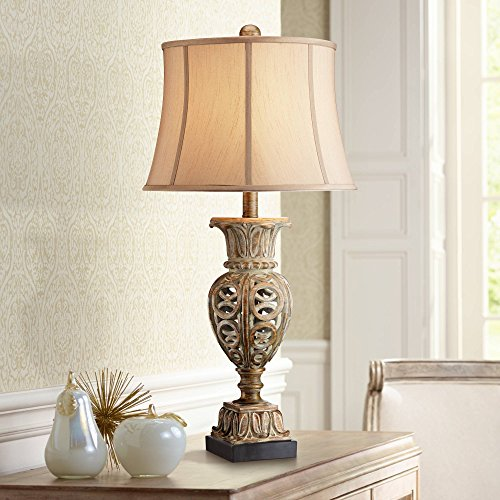 Grand Rue Traditional Table Lamp Washed Gold Open Urn Beige Bell Shade for Living Room Family Bedroom Bedside Nightstand Office - Regency Hill