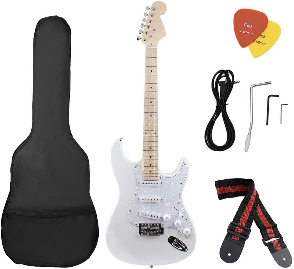 T-XYD Guitarra eléctrica, Kit de Guitarra eléctrica con Tablero de Pearl White Guard Práctica para Principiantes Adultos