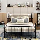 DUMEE Metal Platform Bed Frame Full Size with Modern Headboard and Footboard Steel Slat Mattress Foundation Black