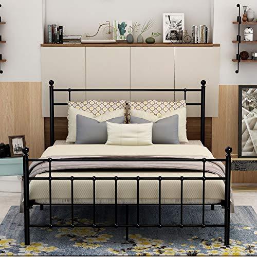DUMEE  Queen Size Metal Platform Bed Frame wth Headboard and Footboard Steel Round Slat Mattress Foundation Black
