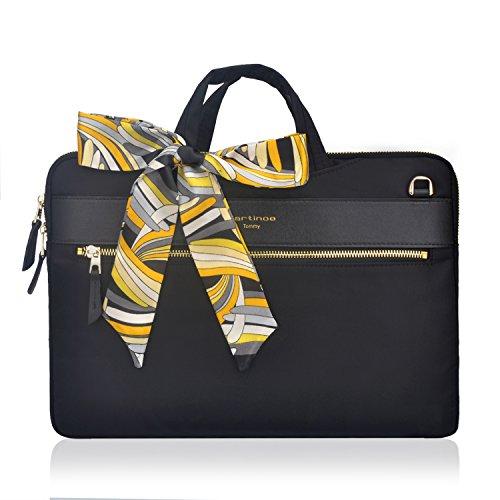 Laptop Tote Bag, Women Fashion Laptop Case Shoulder Bag for Work Business, Ultrathin Nylon Business Briefcase Shoulder Messenger Sleeve Bag For 12 13 inch Macbook Tablet Ultrabook For Ladies, Black ()