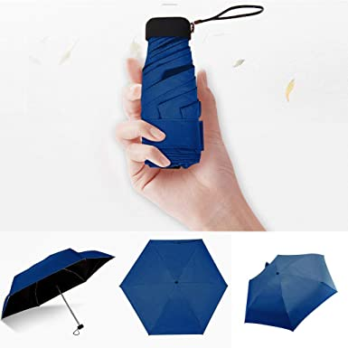 Cliramer Mini Travel Umbrella Light Compact Sun&Rain Outdoor Comfortable Square Handle Pocket Umbrella (Navy)