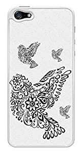 Filigree Flower Cute Birds Snap-On Cover Hard Plastic Case for iPhone 5/5S (White)