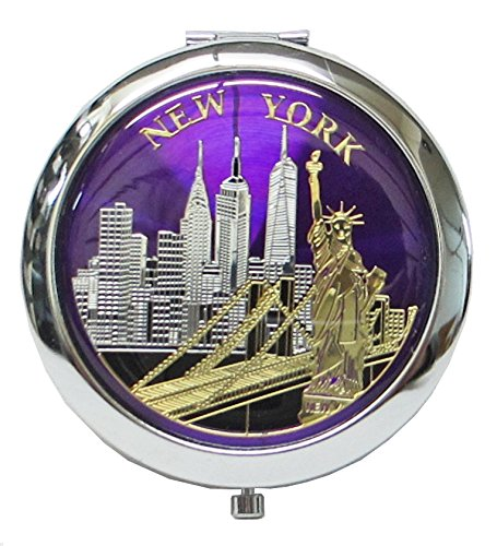 Stores 5th Avenue New York - Lisa NY New York Souvenir Cosmetic Compact Stainless Steel Travel Mirror (Purple)
