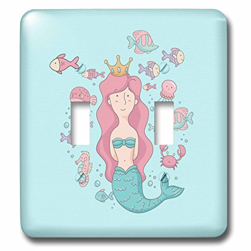3dRose Uta Naumann Sayings and Typography - Ocean Underwater Mermaid and Swimming Fish Illustration for Kids - Light Switch Covers - double toggle switch (lsp_275559_2) ()