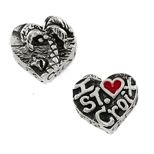 (I heart St. Croix - Beach Scene - Handmade Sterling Silver Large Hole Charm Bead)