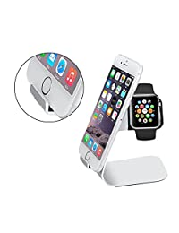 Happy Hours - Hotest 2 in 1 Aluminum Charging Dock Stand Holder for Apple Watch, iPhone, iPad, Xiaomi, Samsung, Blackberry and Other Smartphones(Sliver)