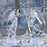 Pack of 2 Icy Crystal Illuminated Angel Ice Sculpture Figurines 11''