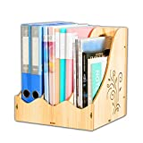 ANHPI Bookcase Vertical Document Holder Cute Wooden Office File Holder Creative Desktop Data Holder,WoodColor