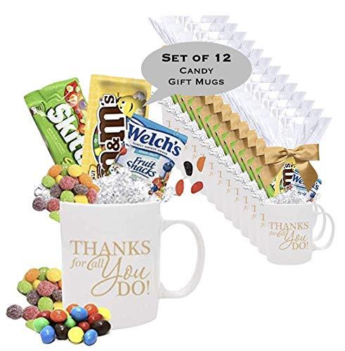 Holiday Mug Gifts - 12 Piece Thank You Candy Gift Mugs/Employee Appreciation Gift Mug/Holiday Candy Gift Mug/Teacher Thank You Mug/Office Staff Gift Mug/Business Thank You Mugs