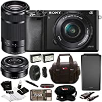 Sony Alpha a6000 Black Interchangeable Lens Camera with 16-50mm and 55-210mm Sony E-Mount Lenses Bundle