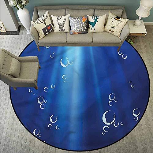 - Round Carpet,Ocean,Underwater Bubbles Oxygene,All Season Universal,3'11