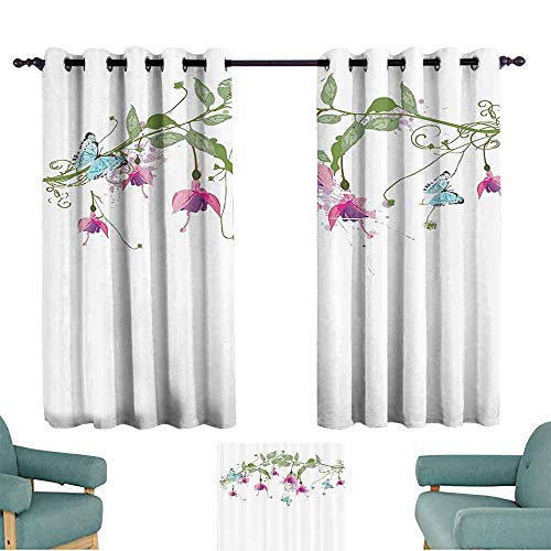 DILITECK Windshield Curtain Flower House Decor Collection Decorative Creeping Bellflower and Butterflies on Branch with Leaves Floral Print Light Blocking Drapes with Liner W55 xL39 White Green