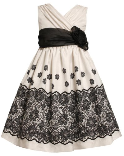 Bonnie Jean Little Girls 2T-6X Ivory/Black Lace Border Print Crossover Shantung Dress, Ivory,4