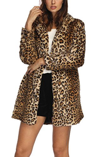 Women's Leopard Faux Fur Coat Winter Outerwear Long Sleeves Warm Jacket Sexy Lapel Overcoat,L Leopard