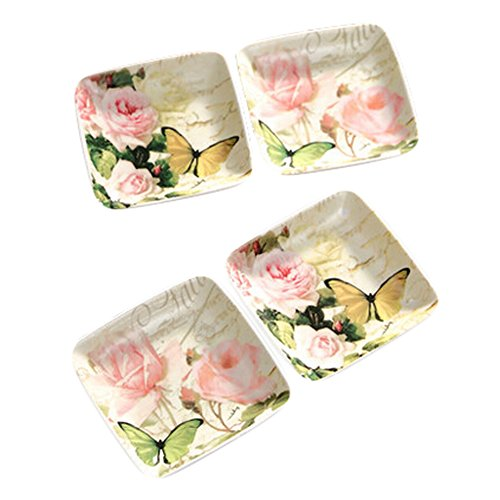 Rose Sauce Dish - Kylin Express Set Of 4 Tasting Square Dishes Set Ceramic Dipping Sauce Dishes,Butterfly&Rose