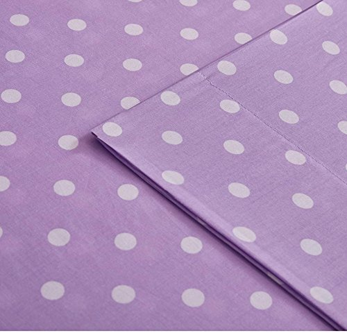 Percale Sheets Kids Bedding (3 Piece Girls Polka Dot Purple Twin Deep Pocket Sheet Set, Lavender Solid Color, All Over Dot Design Circles Teen Bedding Kids Bedroom Bold Colorful Fun Contemporary Modern, Percale Cotton)