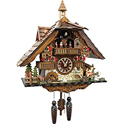 Cuckoo-Palace Large German Cuckoo Clock - The Seesaw Mill Chalet with Quartz Movement – with Moving Seesaw - Black Forest Clock